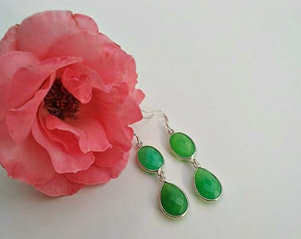 Green Chalcedony Drop Earrings With Silver Trim
