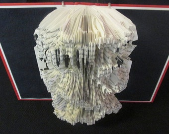 Altered Book Art Sculpture-Black, White & Red All Over Wall Hanging