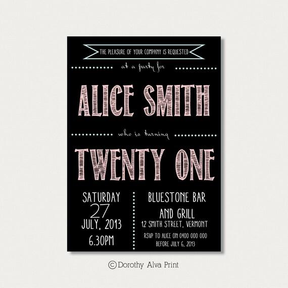 Custom 21st Birthday Invitation By DorothyAlvaPrint On Etsy