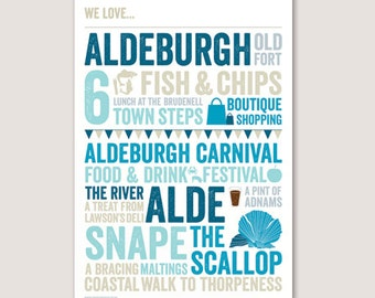 We Love Aldeburgh A4 typographic print