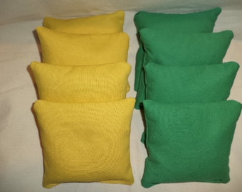 Cornhole bags Gold and Kelly Green 8 corn hole bean bags ACA Regulation size