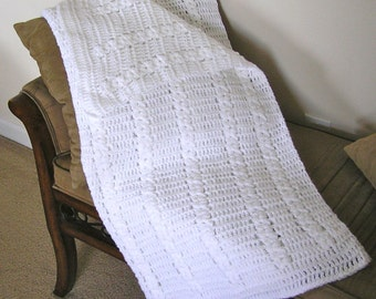 FREE STANDARD SHIPPING on this White Crib Blanket. Measures 35 x 38. Perfect for Crib or Snuggling!
