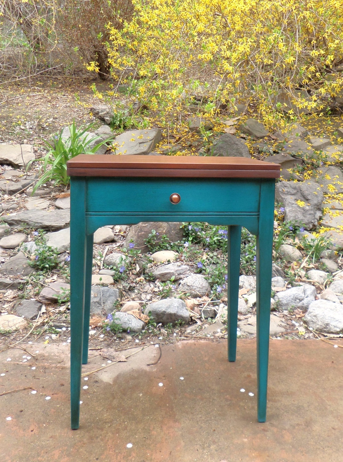 Turquoise And Teal Table Repurposed Sewing Machine Table Side