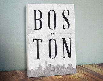 Boston Silhouette Canvas Print - Oversized Statement Piece Art - Boston City Silhouette