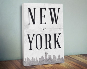 New York Silhouette Canvas Print - NYC - Oversized Statement Piece Art - New York City Silhouette