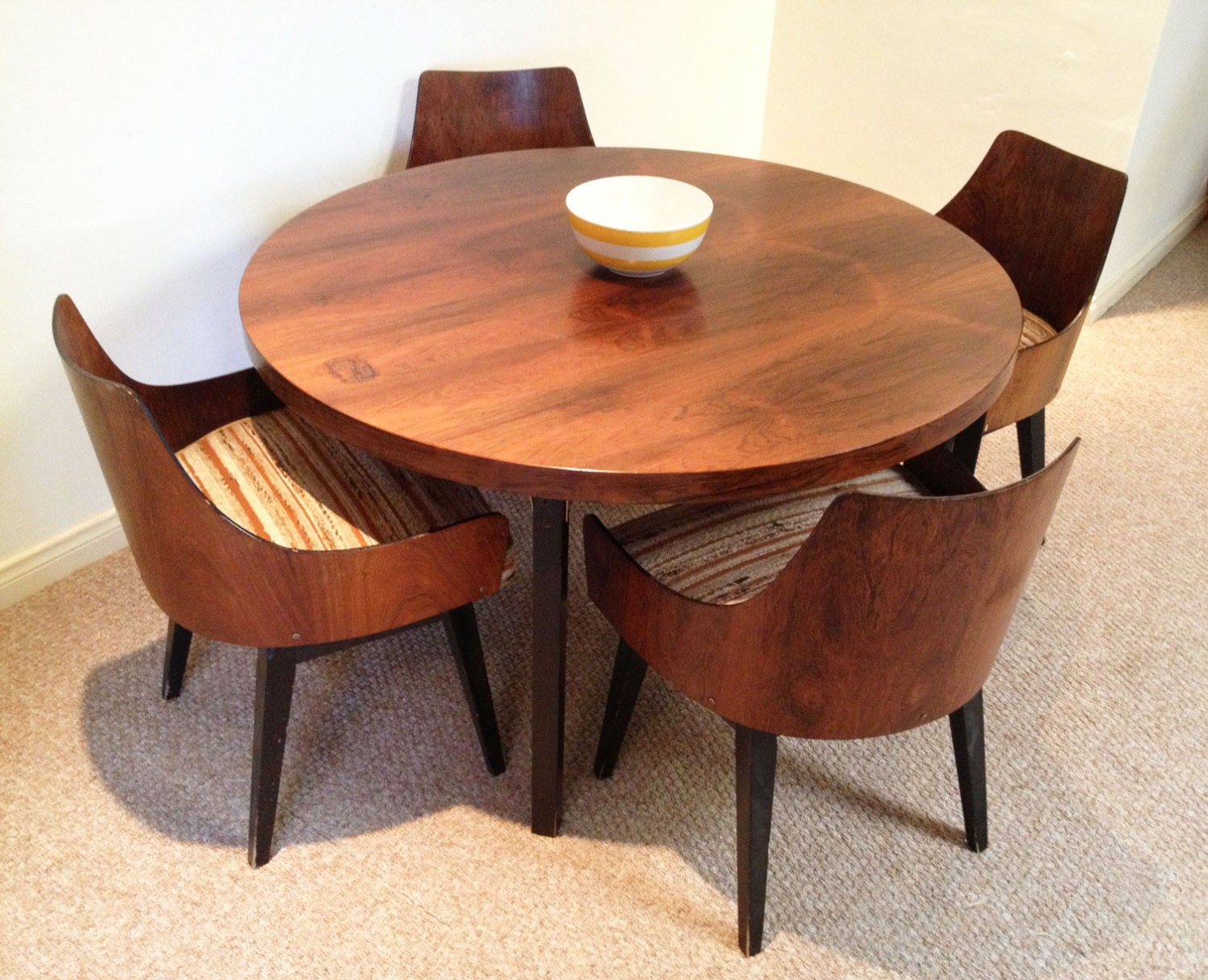 sold soldmid century modern dining set chairs mid century. Black Bedroom Furniture Sets. Home Design Ideas
