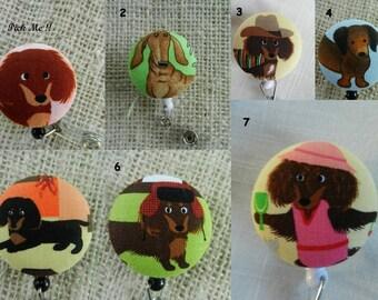 Dachshund Dog Retractable ID, Name badge Holder Reels