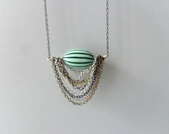 Green black silver tribal geometric necklace