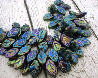 IRIS GREEN Czech Glass Leaves, Green Czech Glass Leaf Beads Qty 25 12 X 7 mm