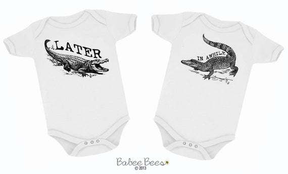 Matching Twin Set, Later Alligator, In Awhile Crocodile, New Twin Outfits, Custom Baby Gift, Funny Baby Clothes Twin Bodysuit Set Twin Gifts
