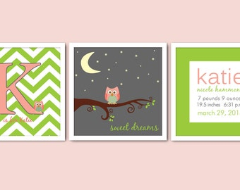 Set of 3 Monogram Owl Nursery Prints/Sweet Dreams/Chevron Nursery/Birth Announcement/Alphabet Letter/Girl's Nursery/8x8, 8x10, 10x10, 12x12