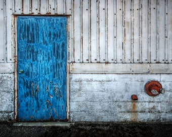 Blue Door Print, Architecture, Wall, City, Warehouse, Color Splash, Urban, Photography, Fine Art Photography, 5x7, 8x10, 11x14