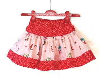 Girl's Twirly Skirt, Easter Skirt, Little Red Riding Hood Skirt, 100% Cotton, Sophia Gracie Couture
