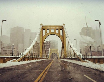 Clemente Bridge in Snow - Pittsburgh, PA