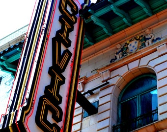 Civic Theater, Akron, Ohio, Downtown, Main Street, Color Print Photograph