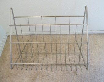 Large Vintage Gold Metal Magazine Rack