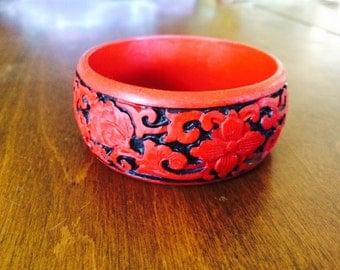 Vintage Carved Cinnabar Bangle Bracelet