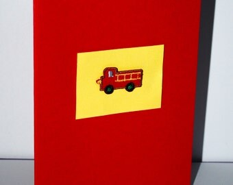 vintage style  fire engine applique    card red
