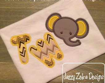 Two Elephant Applique Design