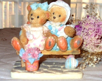 "Cherished Teddies. Tracie and Nichole, ""Side by Side with Friends"", Collectible Cherished Teddies. Collect Teddy Bear Finguines"
