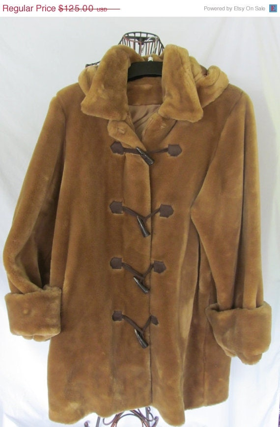 Brown Teddy Bear Fur Jacket Toggle Button by ReVintageBoutique