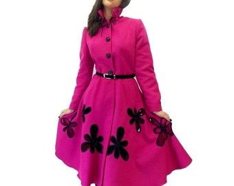 Women Overcoat / Spring Coat/ Elegant Wool Coat/ Elegant Coat / Swing Coat