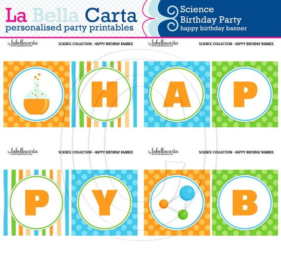 Science Printable Happy Birthday Banner Science By