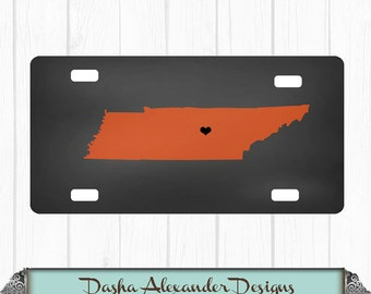 State License Plate Chalkboard Background Tennessee Car Tag  Any color - Any State  Personalized Car License Plate -  Sweet 16 Gift for Girl
