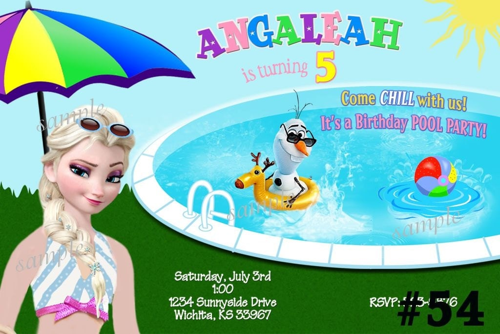 Disney Frozen Pool Party Invitation Summer by LetsPartyShoppe
