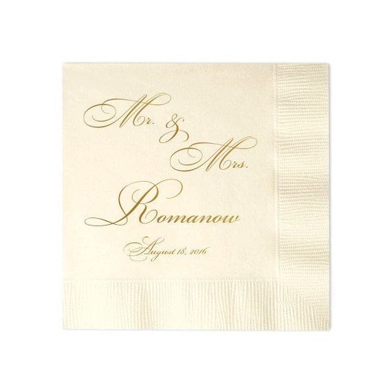 100 Personalized Napkins Personalized Napkins Wedding Napkins