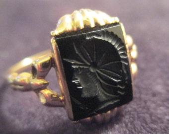 Antique 14K Gold Black Onyx Cameo Womens Ring