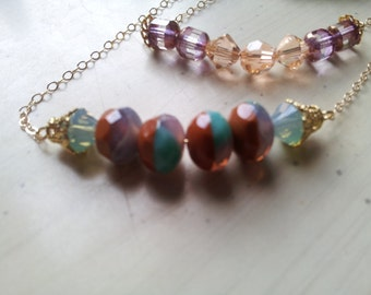 Delicate Beaded Gold Bar Necklace