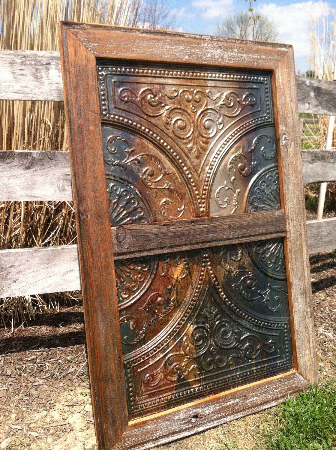 antique tin ceiling tile with handmade salvaged barn wood. Black Bedroom Furniture Sets. Home Design Ideas