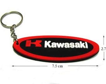 KAWASAKI Racing Rubber Keychain / Keyring #3.