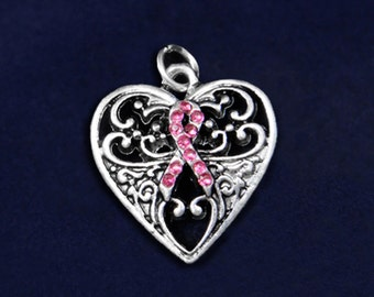 Pink Ribbon Breast Cancer Decorative Heart Charm (RE-HRTCHARM05-1)