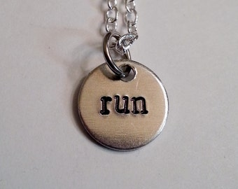 SALE ********** run Hand Stamped Silver Necklace