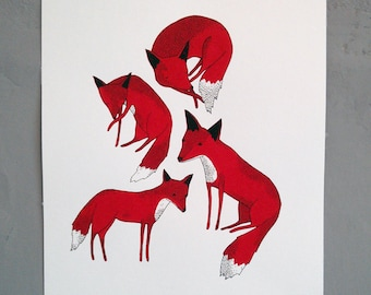 foxes - hand screen printed illustration