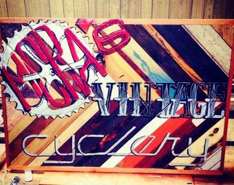 Mora's Vintage Cyclery - Custom Shop Sign