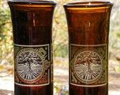 Pair of Large  - Beer Bottle Glasses -  ALMINAC