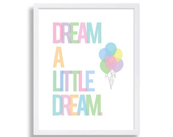 Baby Shower Gift Dream A Little Dream Nursery Decor Baby Room Art Nursery Wall Art Nursery Print Kid's Room Art Nursery Art Music Lyrics Art