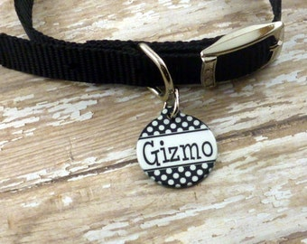 Black and white polka dot Personalized Tag - Dog Tag - Pet ID {Double sided} Choose any color - Custom pet tag