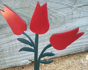 Metal Tulip Garden Stake - Garden Decor - Yard Decoration