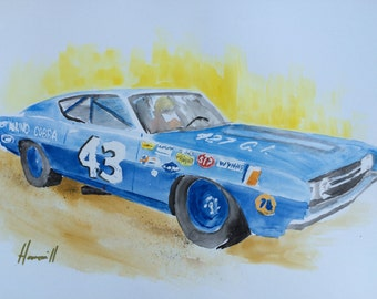 Watercolor Painting of Richard Petty's 1969 Ford Torino