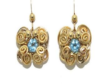 The Twilight Night Earrings \ Gold Topaz Dangle Earrings \ Gold Topaz Drop Earrings \ Handwrapped Dangles