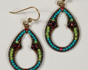 Arabic keyhole turquoise and spring green and fuschia micro mosaic earrings