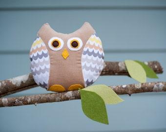 Stuffed Owl, Owl Toy, Soft Owl, Owl Decoration, Nursery Decor, Fabric Owl, Owl Pillow, Owl Toy, Custom owl, Tan Owl, Plush owl, Baby owl