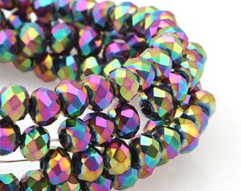 6mm Purple Volcano Iris Opaque Crystal glass Randell Faceted Beads - about 45pcs (C6042- FikaSupplies)