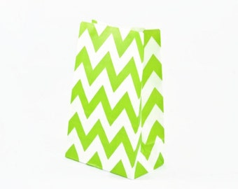 PAPER BAGS (Set of 12 Stand Up Bags) - Lime Green Chevron (20cm x 12.5cm)