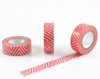 ZIGZAG WASHI TAPE - Red and White Zig Zag Pattern (10 Metre Roll)