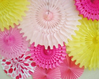 XL Pink yellow paper fan photo backdrop, pinwheel backdrop, tissue paper fans for weddings, birthdays, showers, etc.